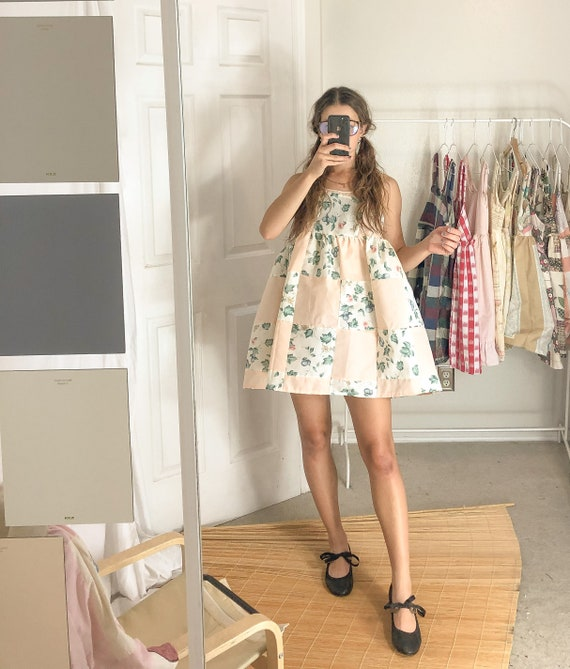 Floral Quilted Patchwork Dress-Medium