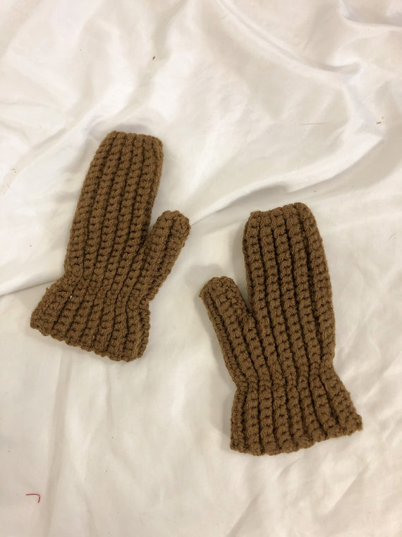 Vintage Brown Crochet Knit Mittents