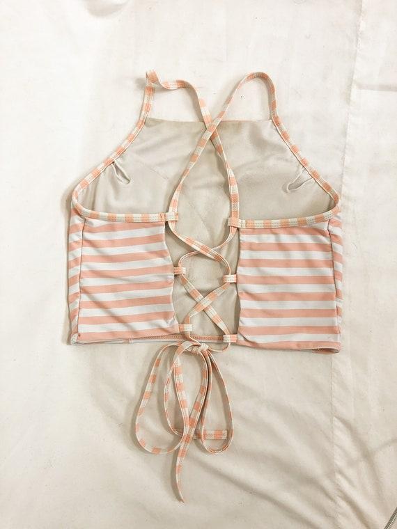Peach and white striped swim top-Medium