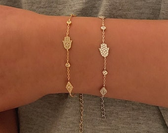 hamsa bracelet silver