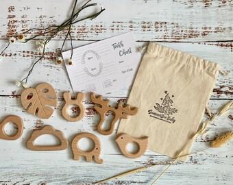Natural Beechwood Teether Animal Shape Teething Gift SummerBee Baby Baby Sensory Toy Gender Neutral Gift Baby Shower Gift