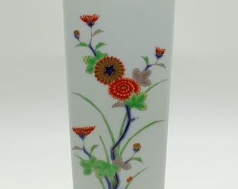Japan Fukagawa Porcelain Wall Pocket Vase, Arita, Cobalt and Gold Floral