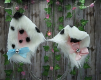 Custom Kawaii Dalmatian Puppy Dog Ears and Tail Faux Fur Cosplay Set