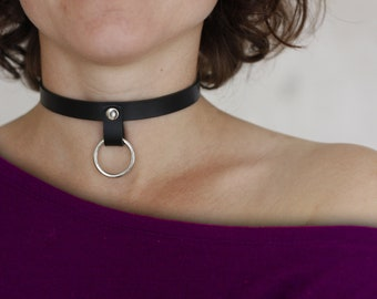 O-ring choker Black/Red Adjustable Leather Punk Metal Women choker, Kitty Collar Submissive necklaces Fetish Slave BDSM Valentine's