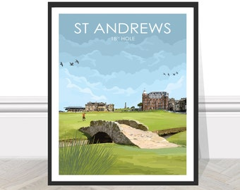 St Andrews, Old Course, Scotland, British Open, Golf, Travel, Print, Gift, Poster, Art, 18th hole, Swilcan Bridge