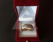 Handmade Forged Steel Ring, Men 39 s Wedding Band Twist Damascus Steel Inlayed with Rose Tungsten, Groomsmen Gifts Friendship Day Gift