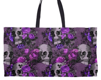WDD Large 24x13 Inch Weekend Tote Bag Skulls And Pink Roses