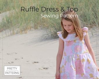 Girls' Ruffle Dress with Pockets & Tunic Ruffle Top   PDF Sewing Pattern + Tutorial   5-8 Years