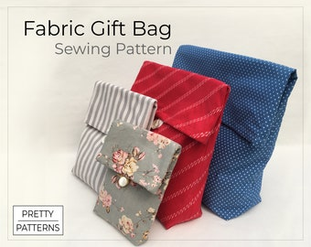 Gift Bags PDF Sewing Pattern & Tutorial in 4 Sizes