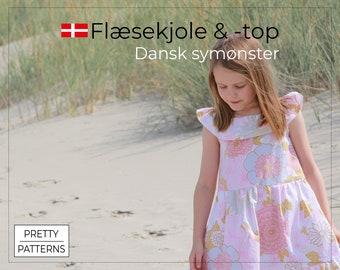 Flæsekjole med lommer & flæsetop   Dansk symønster + tutorial   Str. 5-8   PDF print-selv