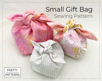Small Gift Bag with a Bow   PDF Sewing Pattern & Tutorial   3 Sizes