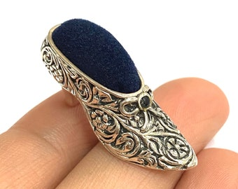 Victorian Style Collectable High Heel Shoe Pin Cushion 925 Sterling Silver Sewing Needle