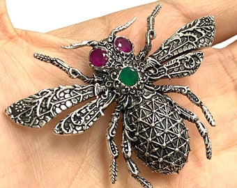 Unique Handmade Insect Jewelry Emerald Gemstone Bee Brooch Vintage Dragon Fly Silver Brooch Precious Gift For Herhim