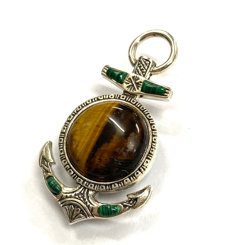 Celtic Style Anchor Pin Brooch with Tiger Eye and Malachite Stone 925 Sterling Silver