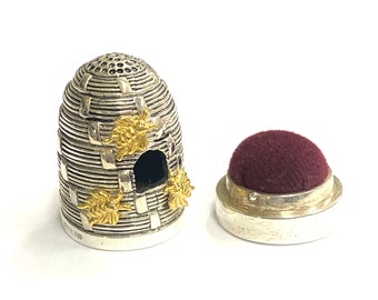 Novelty Style Beehive Sewing Thimble and Cushion 925 Sterling Silver