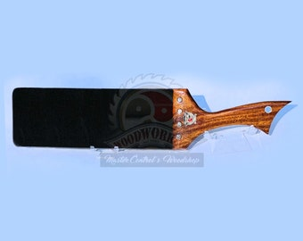 """Wooden Handle Black Italian Leather Spanking Strap Paddle - Premium Exotic 4"""" with 12"""" strap    BDSM Toy"""