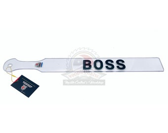 """Long Flexible Lexan Spanking Paddle with 1 line of Vinyl Letters or a Graphic - Choose thickness 1/8"""", 3/8"""", 1/4"""", or 1/2"""""""