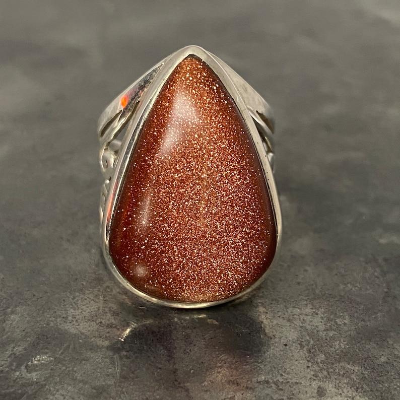 gold sandstone ring size U.K - P U.S - 7 12 E.U Goldstone ring - 56 sandstone ring