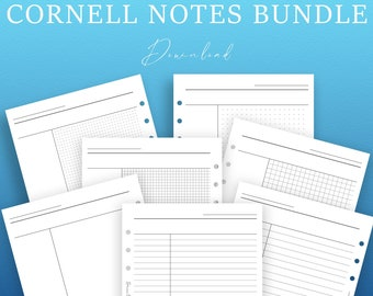 Printable Cornell Notes Planner Bundle | Blank Lined Grid Dotted Note Taking Paper Insert | Study Journal | College Planner Templates PDF