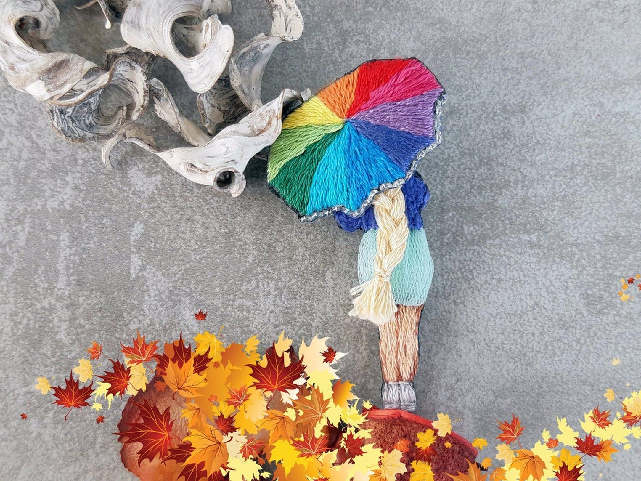 regenbogen regenschirm brosche mädchen mit regenbogen  etsy