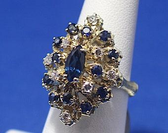 Vintage 14K Marquise Sapphire & Diamond Ring