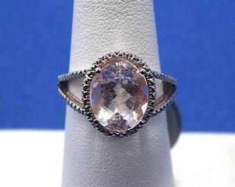 Vintage Sterling Silver Pale Pink Morganite Ring