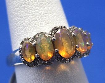 Stunning Vintage Anastasia Sunset Iridescent Topaz and Diamond Sterling Silver Ring