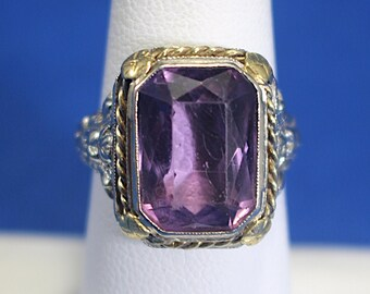 """Antique 18K White Gold Filigree and Amethyst """"Blossom"""" Ring"""