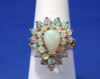 Vintage 14K Opal Cluster Ring