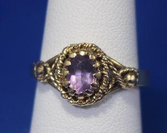 Vintage 14K Amethyst Twisted Wire Ring