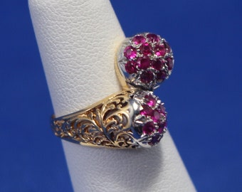 Vintage 18K Yellow Gold & Ruby Bypass Ring