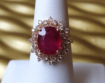 14K Rose Gold 4 Carat Ruby Ring with 0.65ct atw Diamonds