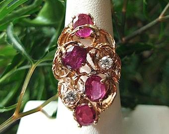 Vintage 14K Freeform Ruby & Diamond Ring