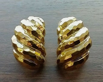 Vintage Estate Henry Dunay 18K Yellow Gold Faceted Earrings