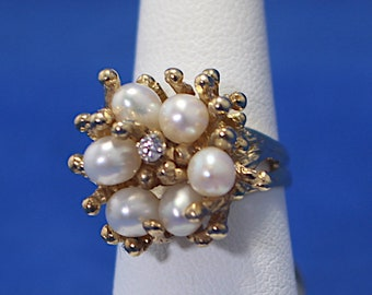 Vintage 14K Pearl and Diamond Nature Ring