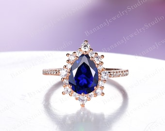 Pear Shape Sapphire Engagement Ring Vintage Sapphire Ring Unique Halo Ring Moissanite Diamond Wedding Band in 14K/18K Rose Gold Promise Ring