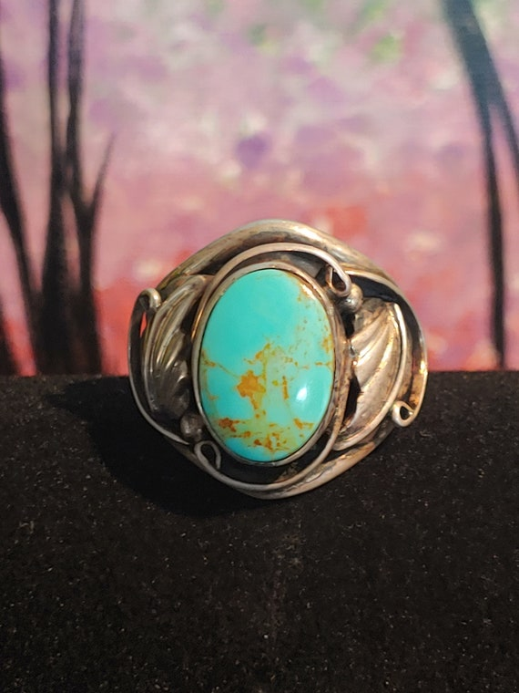 123702070711 Vintage Oval Turquoise Stone Pendant 925 Sterling Pd 918