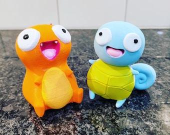 Pokemon-inspired Derpy Fire Lizard Water Turtle 3D Printed Figure
