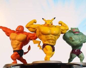 Pokemon-inspired Swole Monster Figure Fire Lizard, Water Turtle, Grass Plantasaur 3D Printed