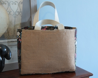 small jute tote and fabric