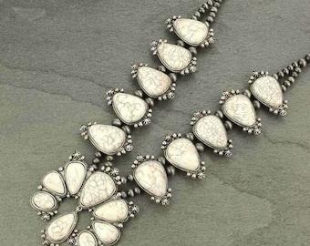 NWT Natural Full Squash Blossom White Stone Necklace 7316570089