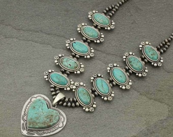 NWT Full Squash Blossom Natural Turquoise Necklace-7325300089