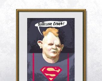 Sloth - The Goonies - Poster A4 - Speech bubble editable - Unframed
