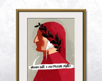 Dante Alighieri - Poster A4 - Speech bubble editable - Unframed