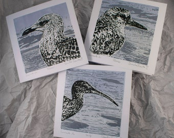 Sea Birds / set of 3 handprinted linocut cards / postcards with envelope