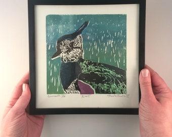 LAPWING, woodcut, handmade and signed print, including frame, bird art, bird print, art, printmaking, print, wall art, artwork