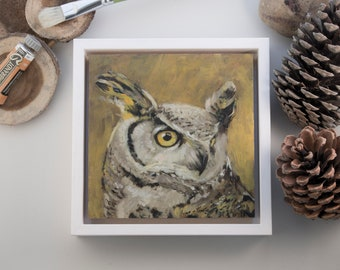 """Original Painting Oehoe Owl / oil paint on wooden panel / handmade and unique bird painting / 15x15cm 6x6"""" / frame size: 18x18cm 7,2x7,2"""""""
