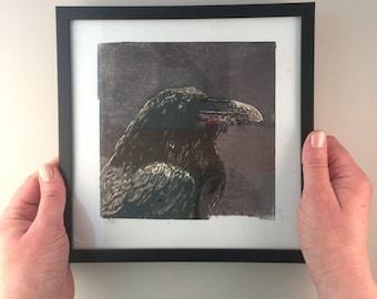RAVEN, woodcut, handmade and signed print, including frame, bird art, bird print, art, printmaking, print, wall art, artwork