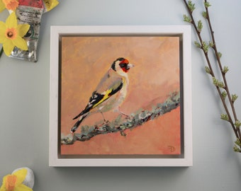 """Original Painting Goldfinch / oil paint on wooden panel / handmade and unique bird painting / 15x15cm 6x6"""" / frame size: 18x18cm 7,2x7,2"""""""