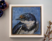 """Original Painting Swallow  / oil paint on wooden panel / handmade and unique bird painting / 15x15cm 6x6"""" / frame size: 18x18cm 7,2x7,2"""""""